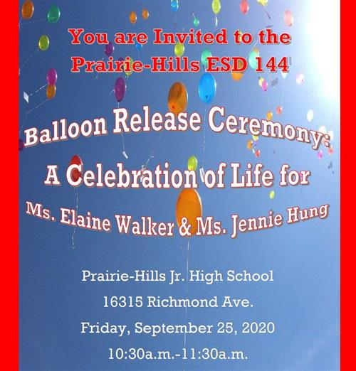 Balloon Release in memory of Elaine Walker and Jennie Hung!