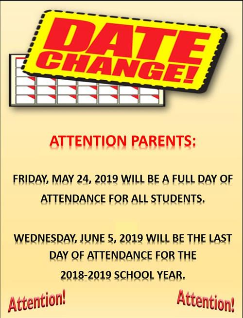 End of School Year Date Change
