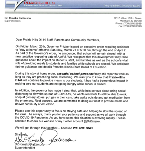 letter to staff, parents and community